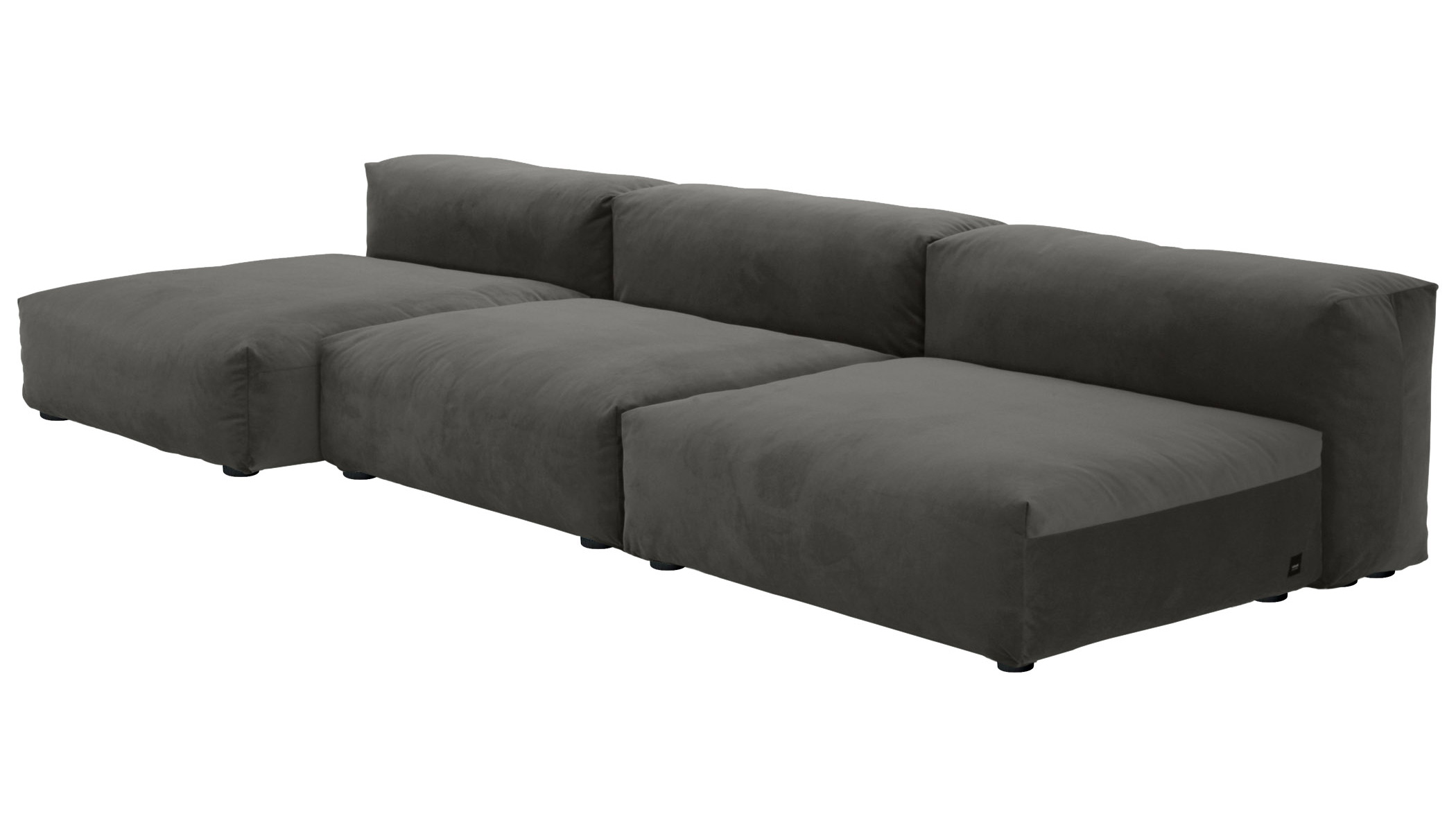 Sofa 1 Large 2 Medium 3 Side Velvet dark grey