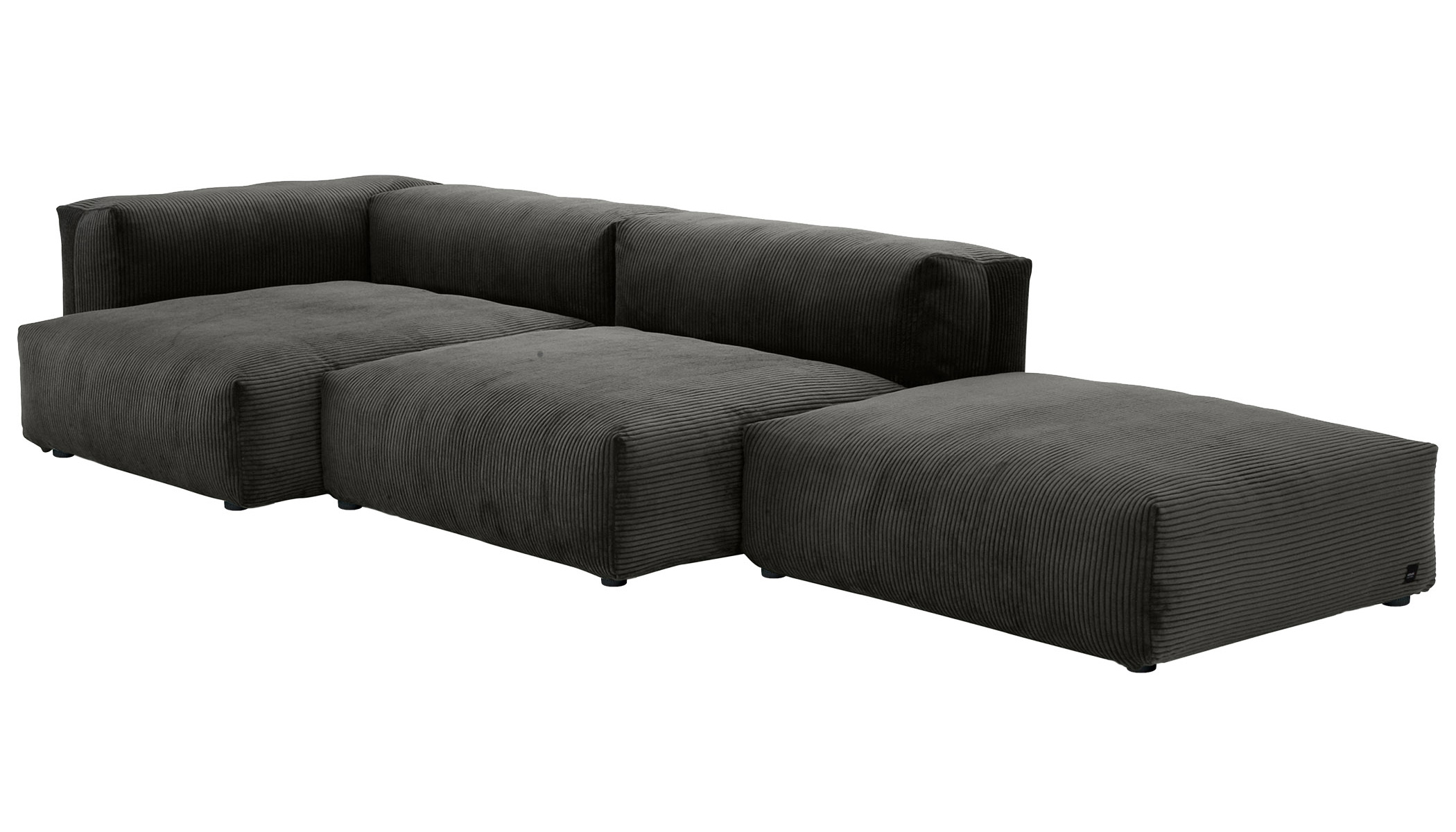 Sofa 1 Large 2 Medium 3 Side  Cord Velours dark grey