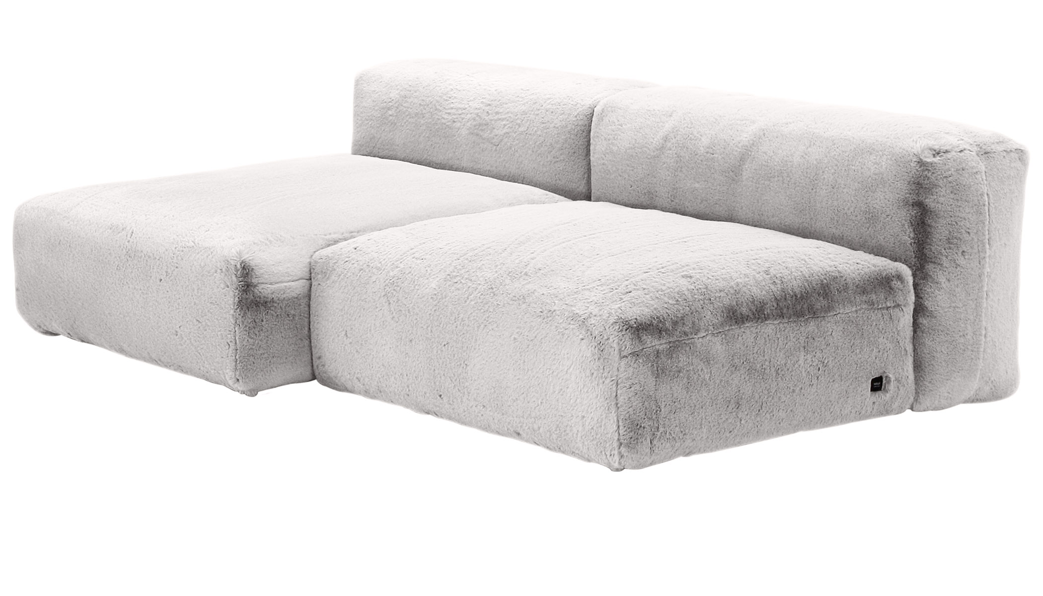Sofa 1 Large 1 Medium 2 Side Faux Rabbit Fur grey